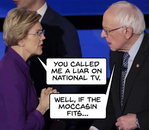 elizabeth warren you called me liar on national tv sanders well if moccasin fits