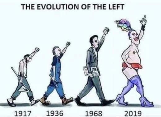 evolution of the left worker businessman drag queen