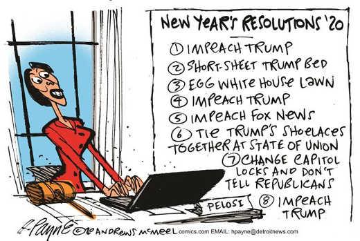nancy pelosi new years resolutions impeach trump