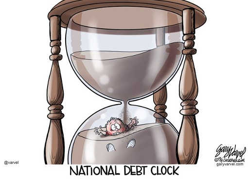national debt clock sands hourglass crushing kid