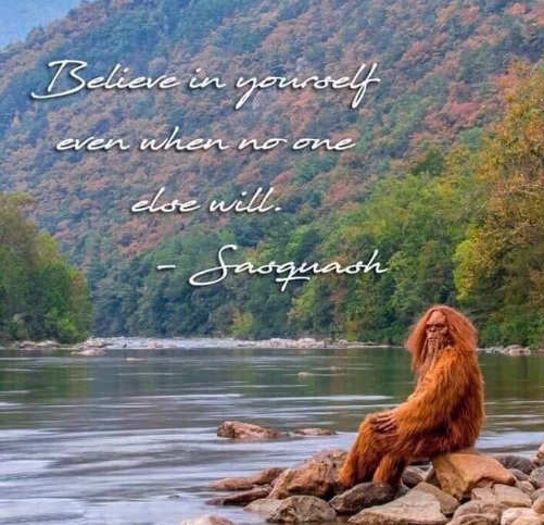 quote quote sasquatch believe in yourself even if no one else will