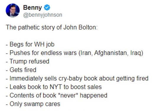 tweet benny story of john bolton begs for white house job pushes for endless war