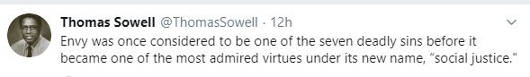 tweet thomas sowell envy used to be one of deadly sins now social justice