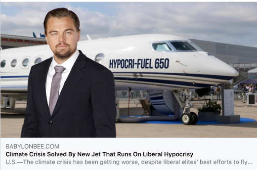 babylon bee plane fueled with liberal hypocrisy