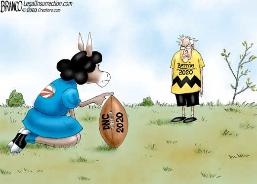 bernie kicking dnc 2020 football lucy charlie brown