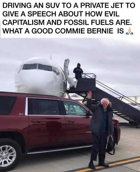 bernie sanders driving suv to private jet to give speech of evil capitalism and fossil fuels