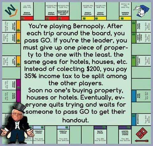 bernie sanders monopoly leader pays tax and distributes every time pass go