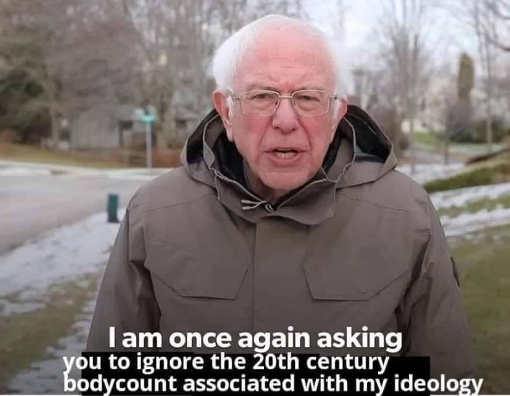 bernie sanders once again asking you to ignore 20th century body count ideology