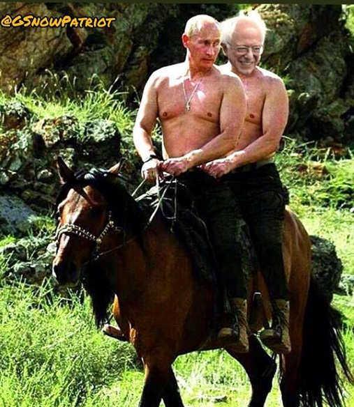 bernie sanders vladimir putin shirtless horse