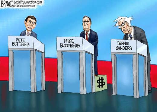 buttigieg sanders bloomberg democratic debate money heightening mike