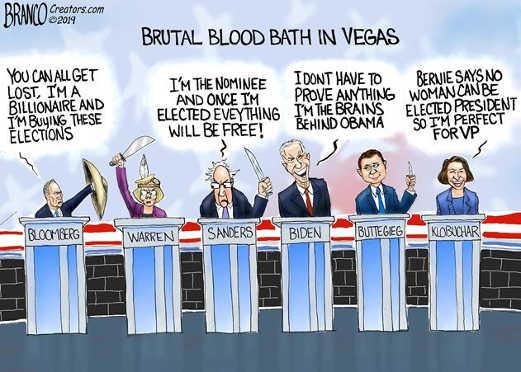 democratic debate branco brutal nevada blood bath