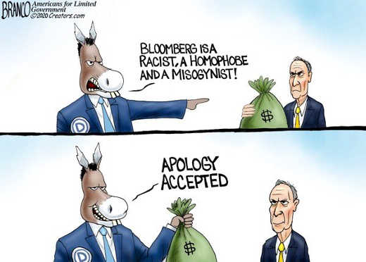democrats bloomberg is racist homophobe misogynist cash apology accepted