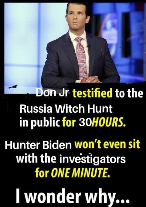 don jr testified 30 hours in russian witch hunt hunter biden wont testify 1 minute