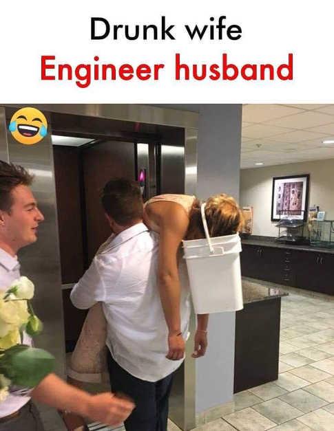 drunk wife engineer husband bucket on head