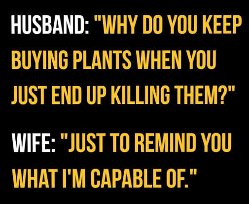 husband why kill plants wife remind you what im capable of