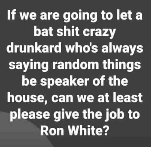 if give bat shit crazy drunks speaker of house job can at least get ron white