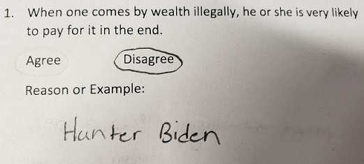 kid quiz come by wealth will pay in end hunter biden example