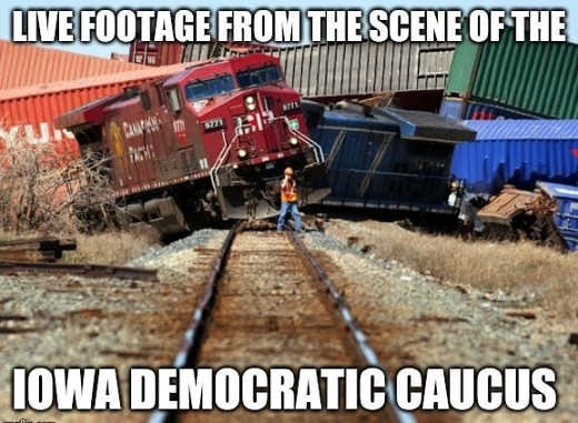 live footage from iowa caucus democratic train wreck