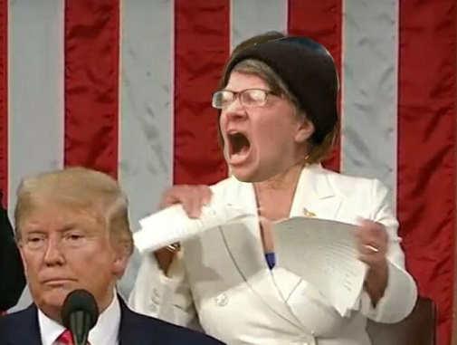 pelosi angry liberal tearing up trump sotu speech