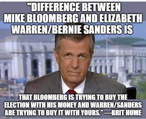 quote brit hume difference between bloomberg warren bernie buying election with his money vs yours