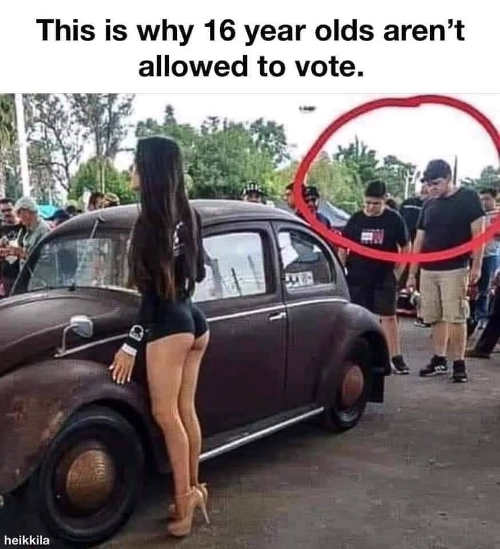 this is why 16 year olds cant vote looking at car not hot girl