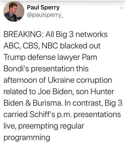 tweet all big 3 networks blacked out trump defense bondi preempted regular programming for schiff