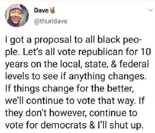 tweet proposal to blacks vote republican 10 years see if changes