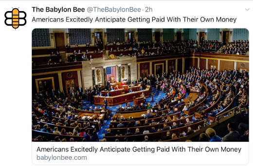 babylon bee americans excitedly anticipate getting paid with their own money