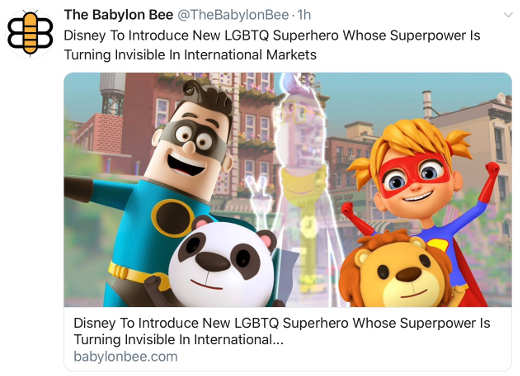 babylon bee lgbtq superpower is disappearing foreign countries