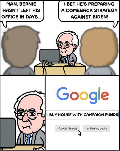 bernie sanders at computer buy house with campaign funds google search