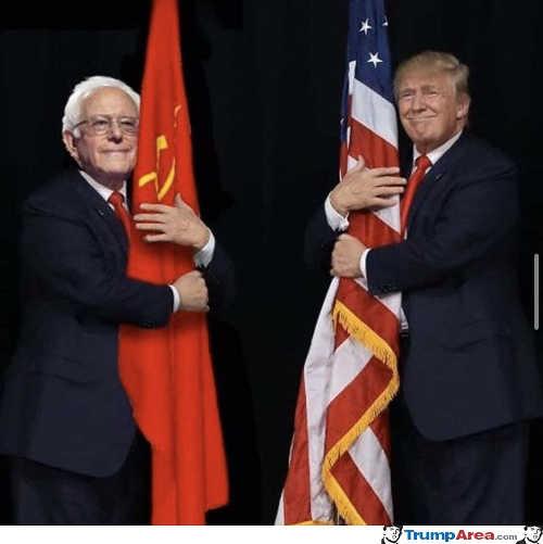 bernie sanders hugging soviet flag trump american