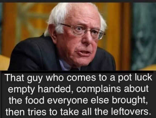 bernie sanders pot luck comes empty handed complains about food takes all leftovers