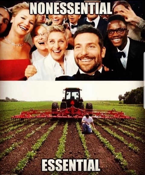 celebrities not essential farmers are selfie