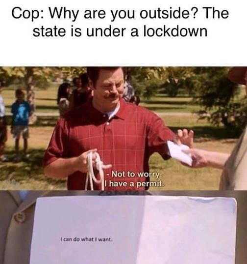 cops why are you outside state is under lockdown i can do what i want ron swanson
