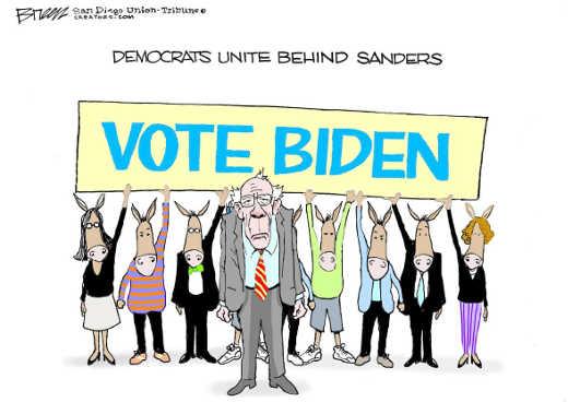 democrats were behind you bernie vote biden sign