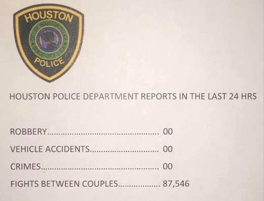 houston police no robbery accidents fights between couples thousands