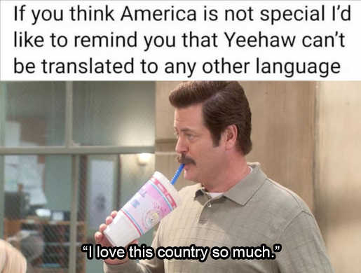 if you think america not special yeehaw cant be translated ron swanson