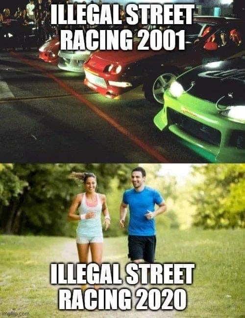 illegal street racing 2001 vs 2020 runners