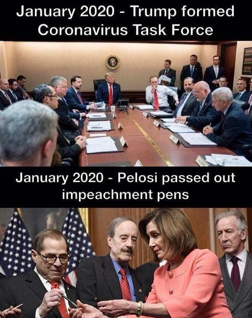 january 202 trump formed coronavirus task force pelosi passed out impeachment pens