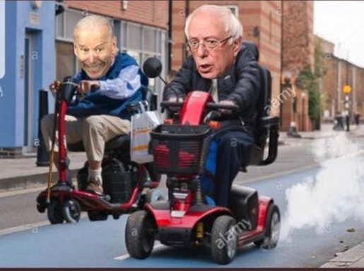 joe biden bernie sanders old scooter race