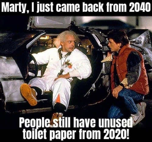 marty doc back to future returned from 2040 people still have unused toilet paper