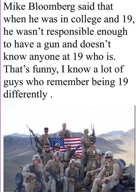 mike bloomberg 19 year olds not responsible to handle gun military