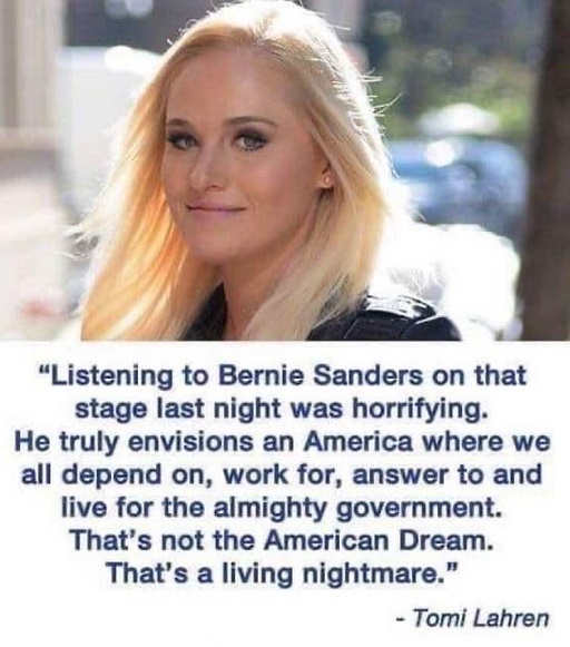quote tomi lahren listening to bernie sanders horrifying envisions america where everything dependent on government