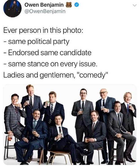 tweet ever comedian same party same jokes groupthink