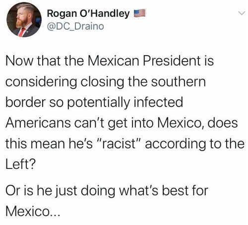 tweet rogan ohandley mexican president closing southern border racist