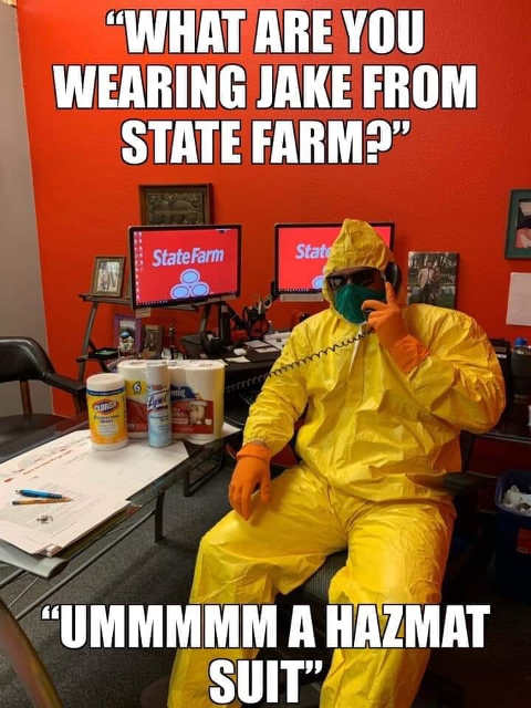 what are you wearing jake from state farm hazmat suit