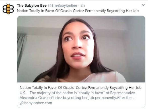 babylon bee aoc ocasio cortez nation in favor never going back to work