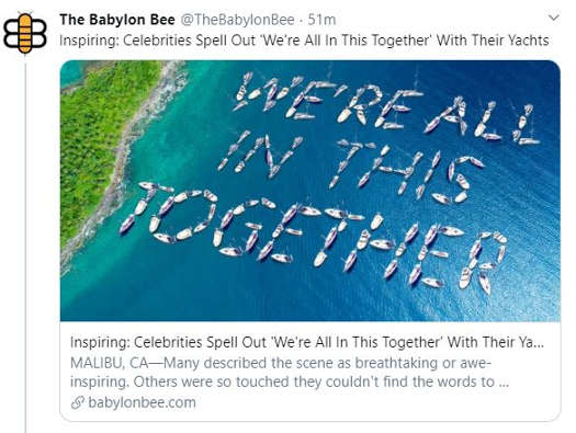 babylon bee celebrities spell out were all in this together on their yachts