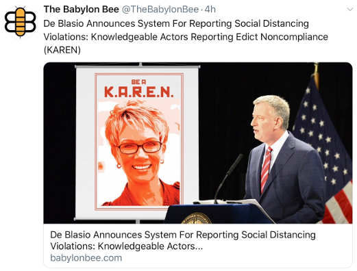 babylon bee new karen program social distancing stitches