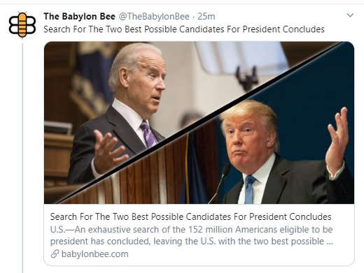 babylon bee search for best possible presidential candidates concludes trump biden
